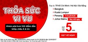 AirAsia khuyến mãi vé 5 USD, thỏa sức vi vu!