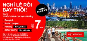 Vé 7 USD vui nghỉ lễ 30/04 & 01/05 cùng AirAsia!