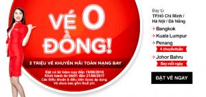 AirAsia khuyến mãi 3 triệu vé máy bay 0 đồng!