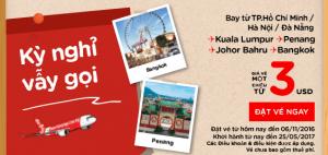 Vé rẻ AirAsia 3 USD! Kỳ nghỉ vẫy gọi!
