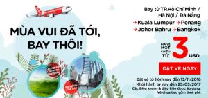 Vé AirAsia 3 USD, bay thôi! Mùa vui đã tới!