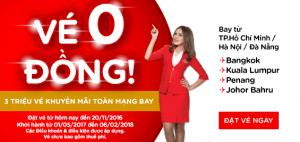 AirAsia tung 3 triệu vé máy bay 0 đồng!