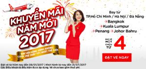 AirAsia khuyến mãi năm mới 2017, vé chỉ từ 4 USD!