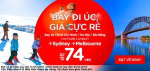 Bay đi Úc giá cực rẻ chỉ từ 74 USD!