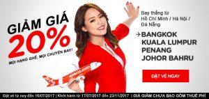 AirAsia giảm ngay 20% giá vé mọi chuyến bay