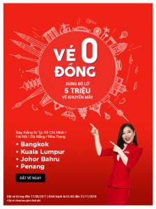 AirAsia khuyến mãi 5 triệu vé 0 đồng, thỏa sức vi vu