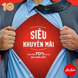 Siêu khuyến mãi Air Asia, giảm 70% giá vé mọi điểm đến
