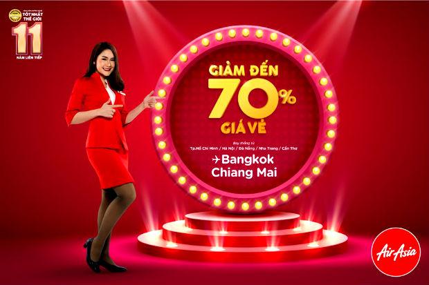 Air Asia giảm 70% giá vé đi Bangkok, Chiang Mai